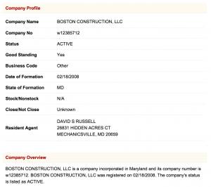 about Boston Construction Mechanicsville MD